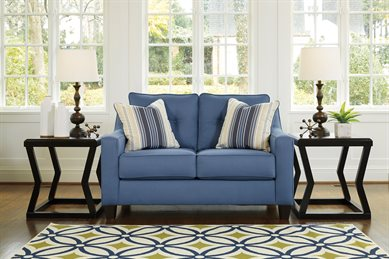 Nuvella Upholstered Loveseat Blue