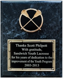 MRB810 - 8 X 10 Special Value Lacrosse Plaque FREE Engraving