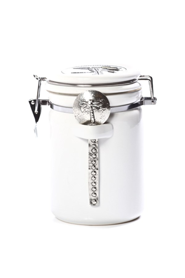 White Porcelain Canister - One Pound