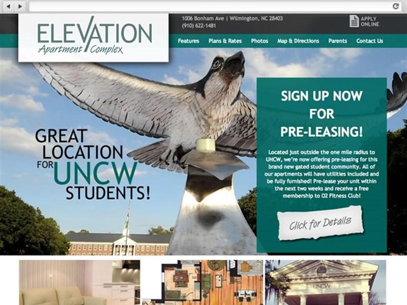 elevation nc apartment complex web design
