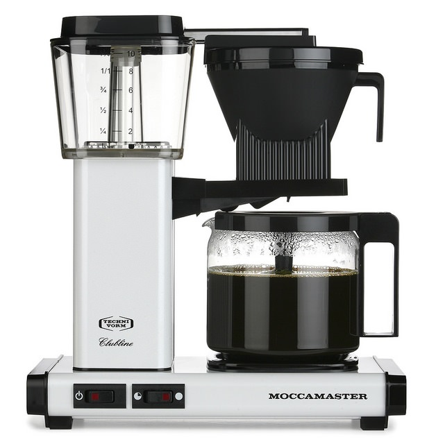 Carolina Coffee   A Technivorm Moccamaster KBG Automatc Drip Stop Coffee Maker with Glass Carafe - White