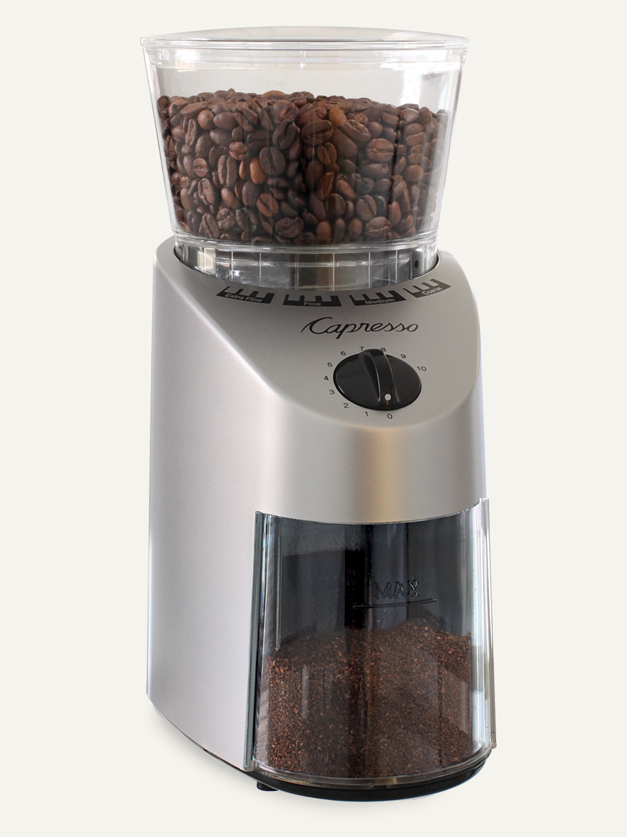 Carolina Coffee Capresso Infinity Conical Burr Grinder Sturdy ABS Housing - Stainless Finish