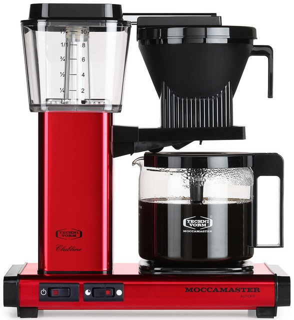 Carolina Coffee Technivorm Moccamaster KBGV Automatic Drip Stop Coffee Maker with Glass Carafe - Candy Apple Red